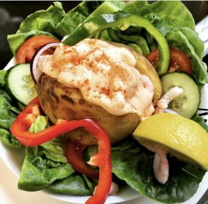Atlantic prawns in a baked jacket potato