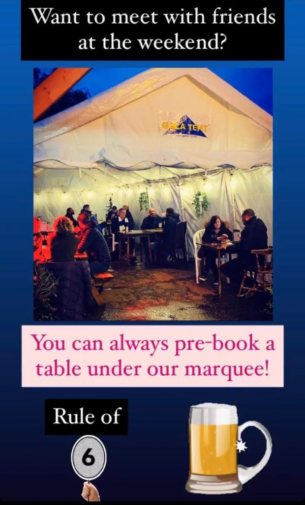 Meet with friends under our marquee!